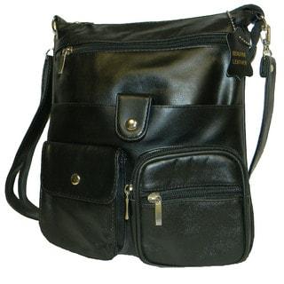 Hollywood Tag Black Leather Side Bag