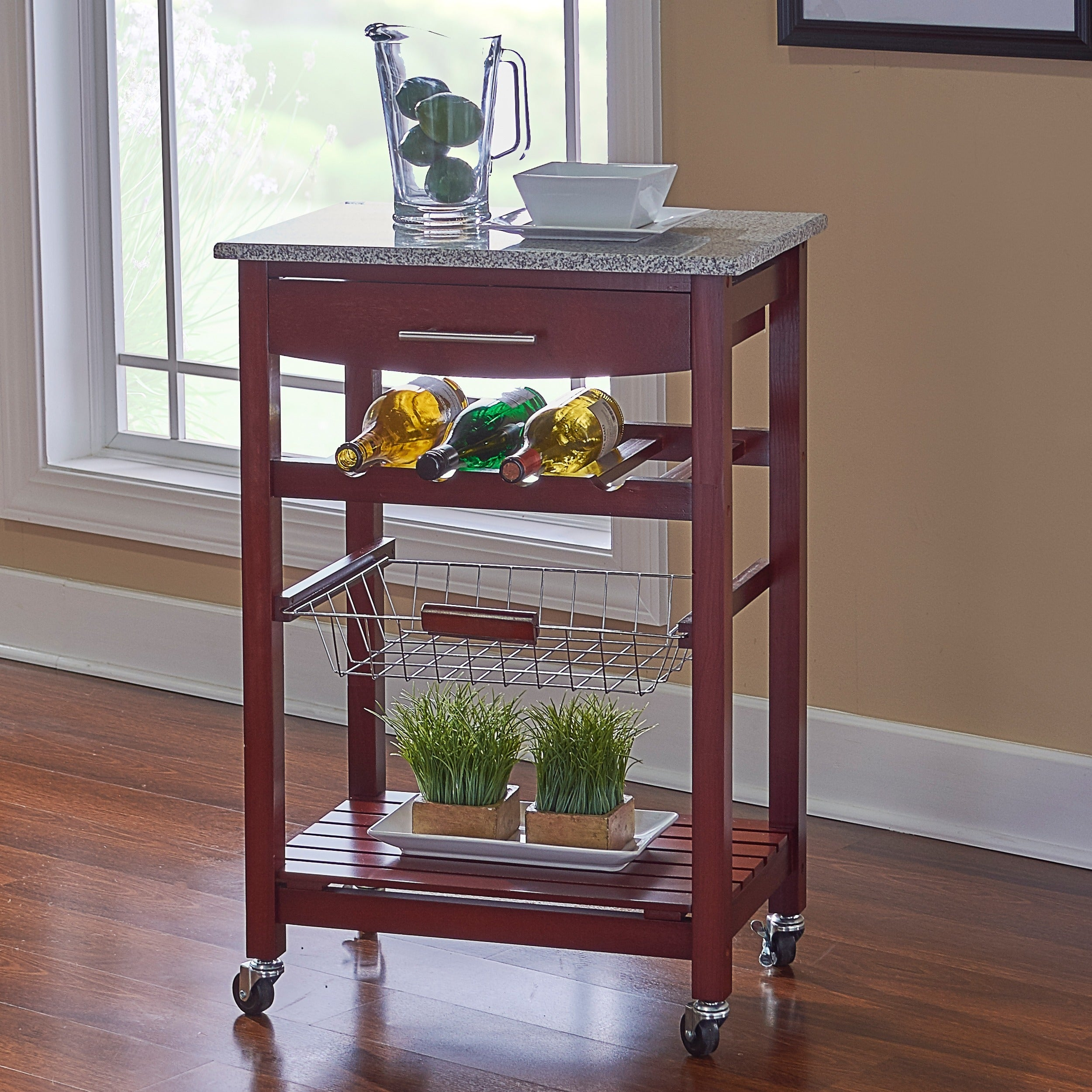 Shop Linon Melanie Wenge And Granite Top Mobile Kitchen Island With - Overstock kitchen island