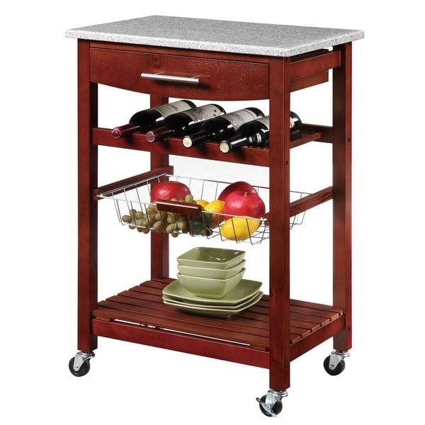 Mobile Kitchen Island Cart Wood Cabinet Storage Portable: Granite Countertop Cart Mobile Kitchen Island Wine Rack