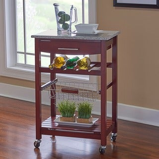 Linon Melanie Wenge and Granite Top Mobile Kitchen Island with Wine Rack