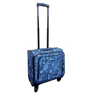Jourdan Blue Paisley Under Seater 14-inch Carry-on Spinner Laptop Case