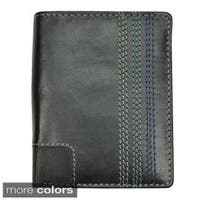 Men's Black Leather Topstitched Bi-fold Wallet