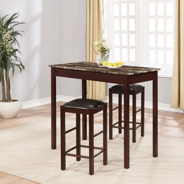 3 Piece Dining Room Set: Shop Linon Speakeasy Espresso 3 Piece Dinette Set
