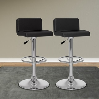 CorLiving Low Back Leatherette Adjustable Barstool (Set of 2)