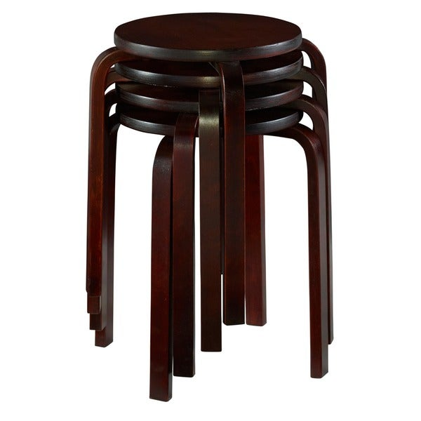 Linon 17-inch Wenge Bentwood Stackable Stool (Set of 4) - Free Shipping Today - Overstock.com - 15881693  sc 1 st  Overstock.com & Linon 17-inch Wenge Bentwood Stackable Stool (Set of 4) - Free ... islam-shia.org