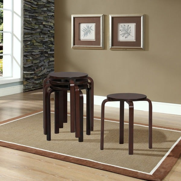 Linon 17-inch Wenge Bentwood Stackable Stool (Set of 4) & Linon 17-inch Wenge Bentwood Stackable Stool (Set of 4) - Free ... islam-shia.org