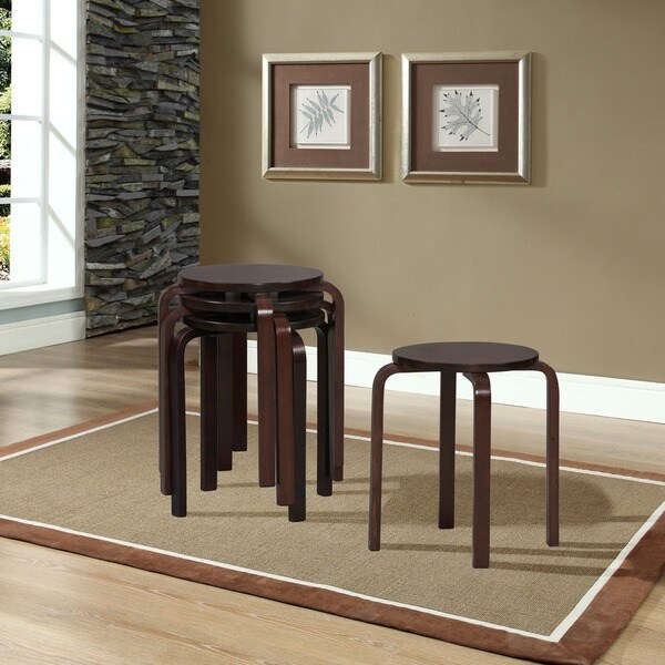 Linon 17 Inch Wenge Cherry Bentwood Stackable Stool Set