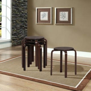 Linon 17-inch Wenge Cherry Bentwood Stackable Stool (Set of 4)