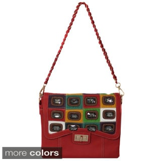 Small Flap-over Jewel Studded Handbag