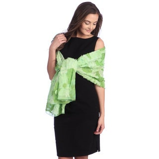 Selection Privee Paris Women's Green Patchwork Dressy Silk Shawl Wrap