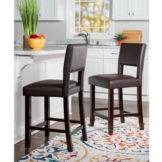 Linon Zeta Stationary Counter Stool, Dark Brown PVC