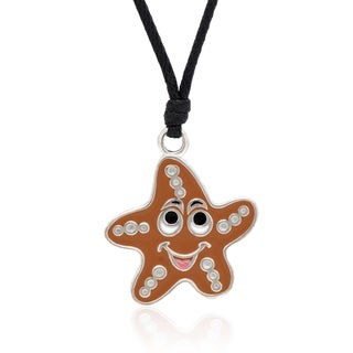 Molly and Emma Brown Enamel Starfish Necklace