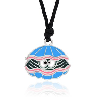 Molly and Emma Blue Enamel Clam Necklace
