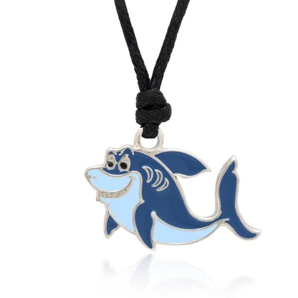 Molly and Emma Blue Enamel Shark Necklace