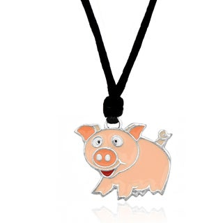 Molly and Emma Pink Enamel Pig Necklace