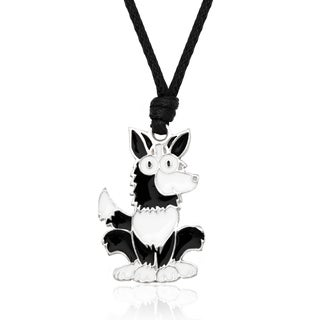 Molly and Emma Black and White Enamel Dog Necklace