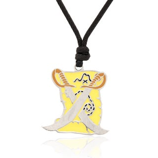 Molly and Emma Grey and Yellow Enamel Pirate Treasure Map Necklace