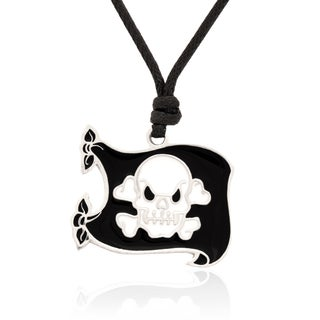 Molly and Emma Black and White Enamel Pirates Flag Necklace