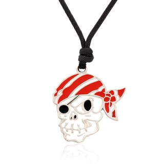 Molly and Emma Red and White Enamel Pirate Skull Necklace