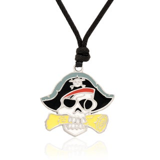 Molly and Emma Black and Yellow Enamel Pirates Skull and Crossbones Necklace