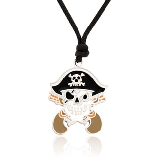 Molly and Emma Black and White Enamel Pirate Skull and Crossbones Necklace