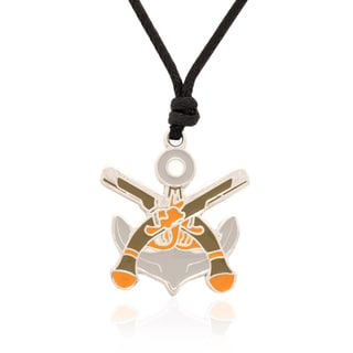 Molly and Emma Grey Enamel Pirate Pistol Necklace