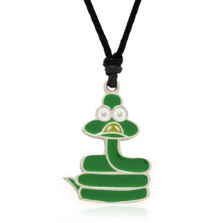 Molly and Emma Green Enamel Snake Necklace