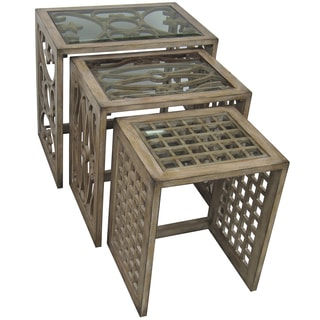 Hand Painted Distressed Antique Natural Beige Finish Nesting Tables