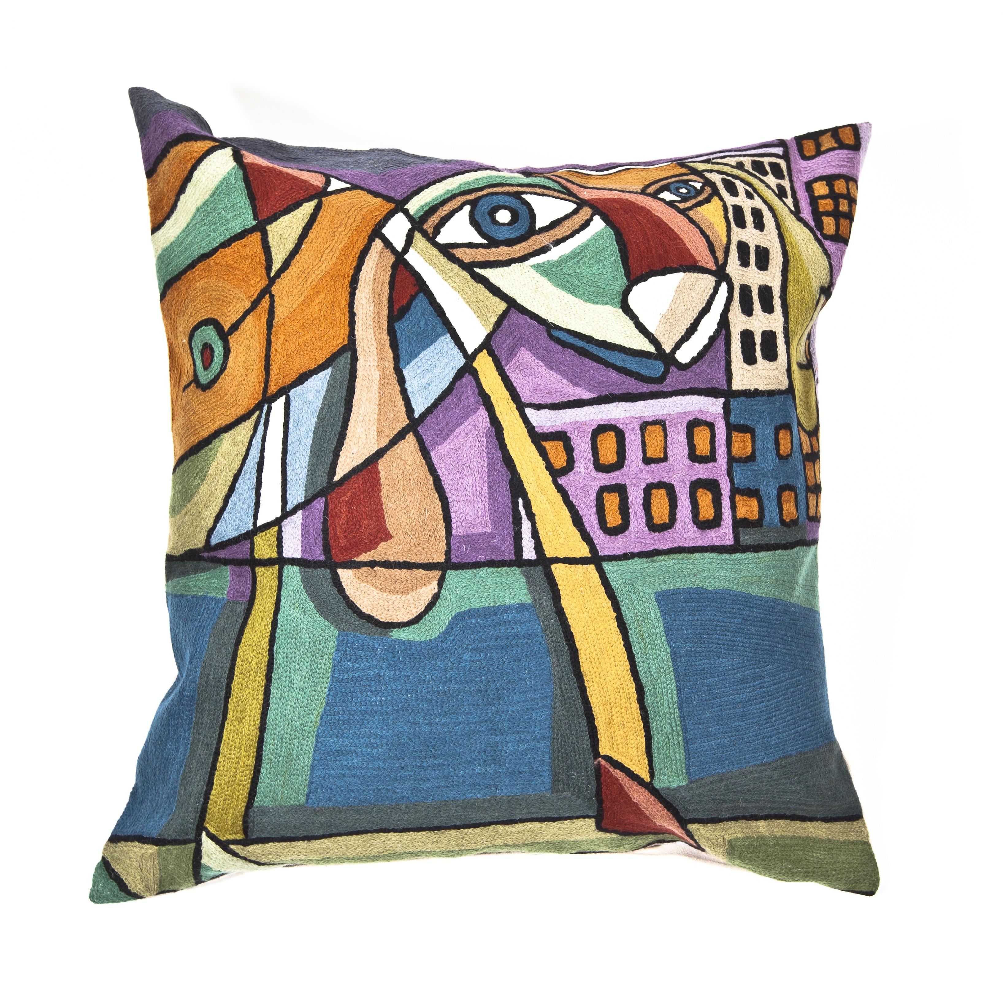 Cashmere Crafts Handmade Multi-colored Dog Throw Pillow C...