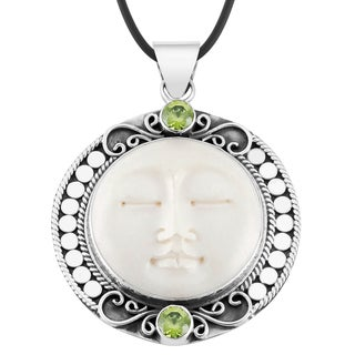 Handmade Silver 'Mother Earth Sleeps' Peridot Cow Bone Necklace (Indonesia)