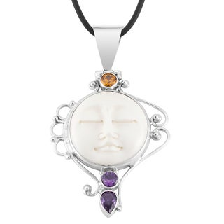 Silver 'Mother Earth Sleeps' Amethyst Citrine Cow Bone Necklace (Indonesia)
