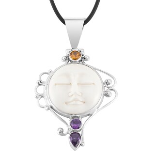 Handmade Silver 'Mother Earth Sleeps' Amethyst Citrine Cow Bone Necklace (Indonesia)