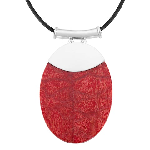 Handmade Sterling Silver Coral Oval Pendant Necklace (Indonesia)
