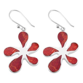 Handmade Sterling Silver Red Coral Floral Dangle Earrings (Indonesia)