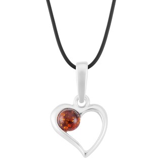 Handmade Sterling Silver Amber Heart Necklace (Poland)