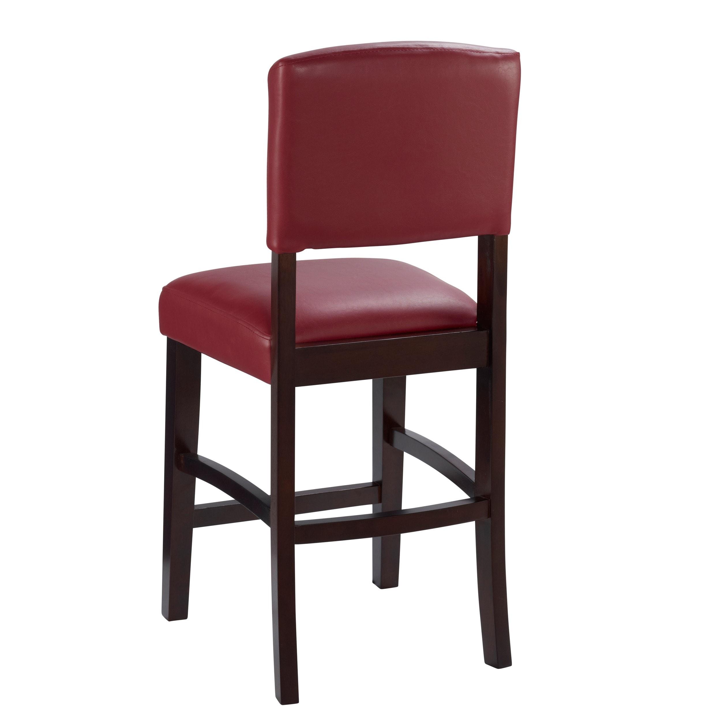 Awesome Linon Monte Carlo Stationary Counter Stool Dark Red Vinyl Machost Co Dining Chair Design Ideas Machostcouk