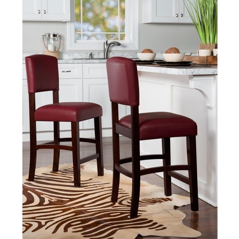 Enjoyable Linon Monte Carlo Stationary Counter Stool Dark Red Vinyl Machost Co Dining Chair Design Ideas Machostcouk