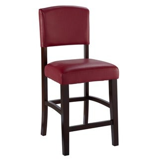 Linon Monte Carlo Stationary Counter Stool, Dark Red Vinyl
