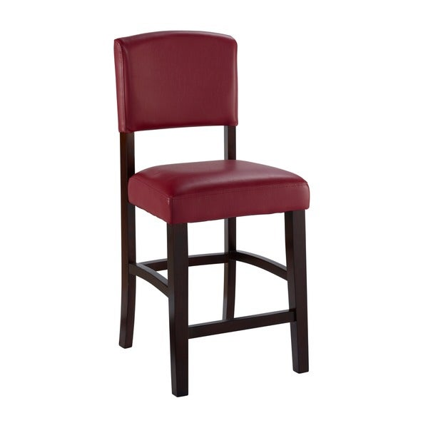 shop linon monte carlo stationary bar stool dark red vinyl free shipping today overstock. Black Bedroom Furniture Sets. Home Design Ideas