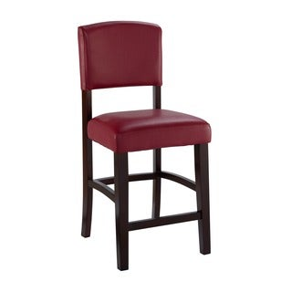 Linon Monte Carlo Oxblood Red Vinyl Wood Stationary Bar Stool