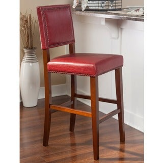 Linon Riverside Non-Swivel Bar Stool, Red Vinyl