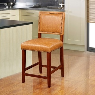 Linon Riverside Stationary Counter Stool, Caramel Vinyl