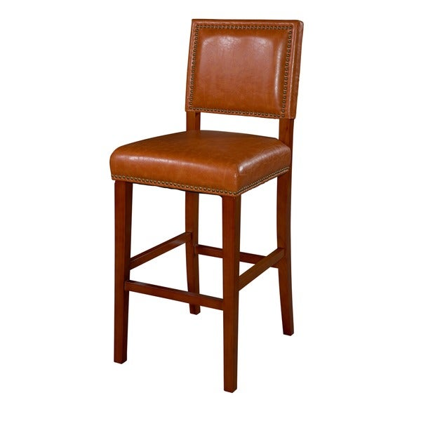 Linon Riverside Non Swivel Bar Stool Caramel Vinyl Free