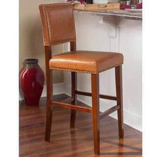 Linon Riverside Non-Swivel Bar Stool, Caramel Vinyl