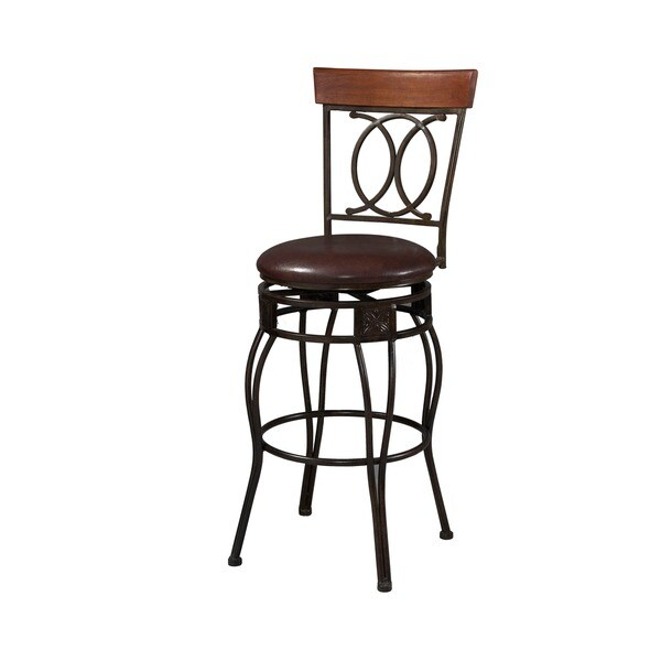 Linon Circle Of Life Counter Stool With Brown Pvc Free