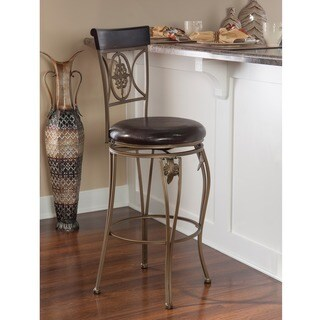 Linon Lily Flower Bar Stool, Distressed Brown PVC