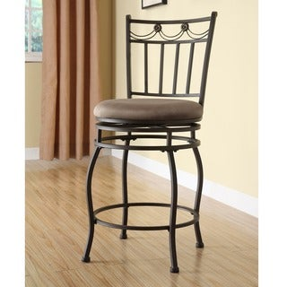 Linon Guapo Powder Coated Counter Stool, Brown Fabric