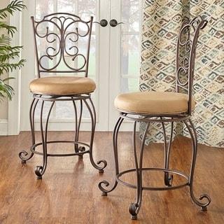 Linon Mariposa Metal Counter Stool Light Brown Polyester