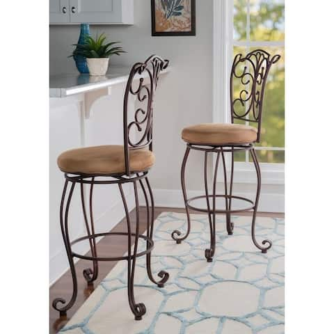 Copper Grove Dubasari Metal Bar Stool with Light Brown Cushioned Seating