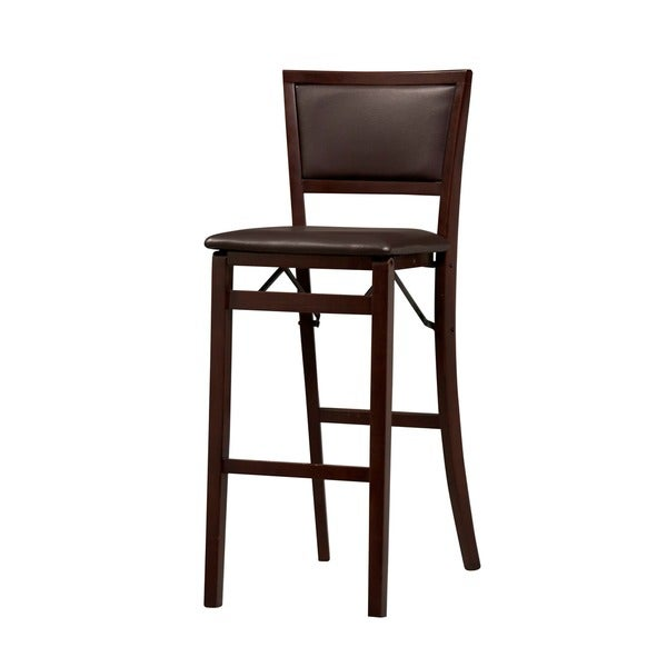 Oh Home Ciara Espresso Padded Back Folding Bar Stool